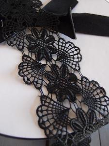 "Black Floral Lace Ribbon - 3"" x 5Y"