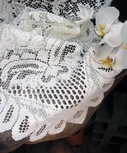 "Ivory Floral Lace Table Runner - 13"" x 120"""