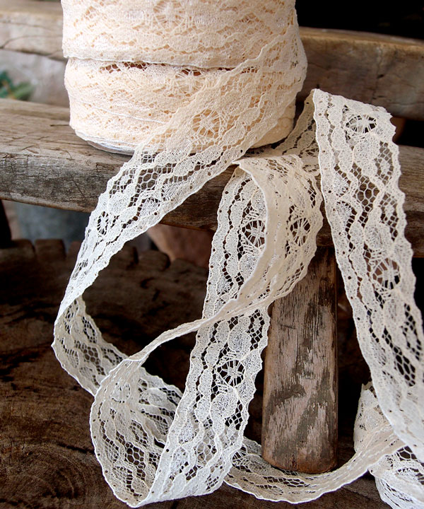 "Ivory Chantilly Lace Ribbon - 1"" x 25Y"