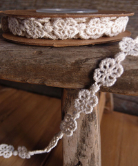 "Ivory Clover Rosette Cotton Floral Lace Trim Ribbon - 1/2"" x 5Y"