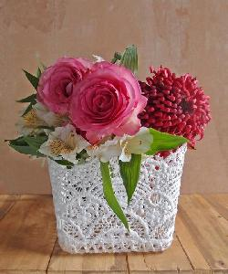 "Stiffened Lace Vase Holder 4"" Square"
