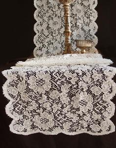 "Ivory Floral Lace Table Runner - 18"" x 96"""