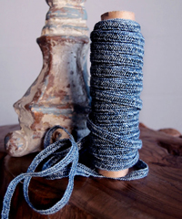 Navy Faux Linen Braided Cord