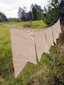 "Natural Burlap Swallow Tail Pennant Banner - 8"" x 10"" rectangle"