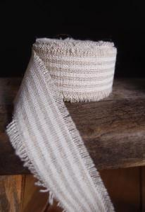 White Striped Linen Ribbon - Striped linen ribbon