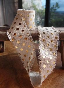 Linen Ribbon with Gold Metallic Dots - Natural linen ribbon with gold metallic dots