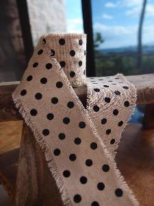 Linen Ribbon with Black Dots - Natural linen ribbon with black dots