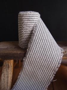 Pewter Gray Striped Linen Ribbon - Linen Ribbon