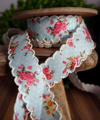 Blue Vintage Floral Ribbon with Scalloped Edge