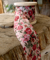 Vintage Floral Print on Ivory Ribbon