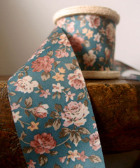 Vintage Floral Print on Green Ribbon