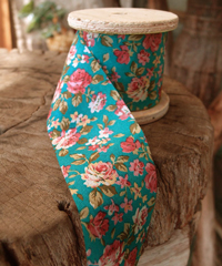 Vintage Floral Print on Light Blue Ribbon
