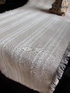 "Linen Table Runner White Stripes Fringed Edge - Linen Runner with White Stripes 14-1/2"" x 108"""