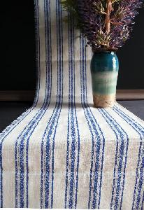 "Linen Table Runner Blue Stripes Fringed Edge - 14-1/2"" x 108"""