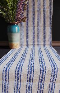 "Linen Table Runner Blue Stripes Selvage Edge - 14-1/2"" x 108"""