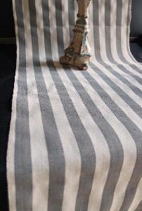 "Linen Table Runner Solid Pewter Gray Stripes Selvage Edge - Linen Runner with White Stripes 14-1/2"" x 108"""
