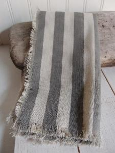"Striped Linen Sheet with Solid Pewter Gray Stripes and Fringed Edge  - 19.5"" x 19.5"""