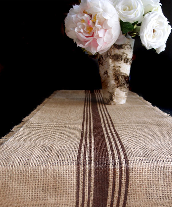 "Brown Striped Jute Table Runner with Fringed Edge - 108"" long x 12.5"" wide"