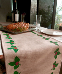 Mistletoe Printed Jute Cotton Blend Table Runner