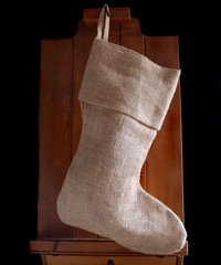 Burlap Christmas Stocking 17 inch