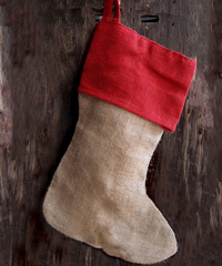 Burlap Christmas Stocking Red Cuff 17 inch