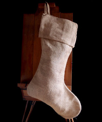 Burlap Christmas Stocking 24 inch