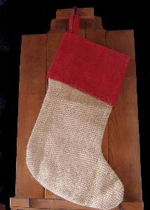 burlap stocking red cuff with cotton lining 17 inch 8w x 17 - Burlap Christmas Decorations Wholesale