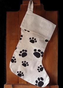 "Canvas Stocking with Paw Print 17 inch - 8""W x 17""H x 12""Bottom Width"
