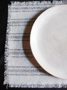 "Linen Place Mat Pewter Gray Stripes - 15.5"" x 11.5"""