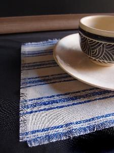 "Linen Place Mat Blue Stripes  - 15.5"" x 11.5"""