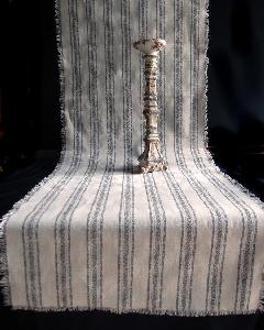 "Linen Table Runner Pewter Gray Stripes Fringed Edge - Linen Runner with Pewter Gray Stripes 19"" x 108"""