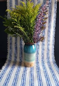 "Linen Table Runner Blue Stripes Fringed Edge - 19"" x 108"""