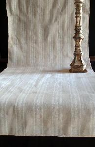 "Linen Table Runner White Stripes Selvage Edge - Linen Runner with White Stripes 19"" x 108"""