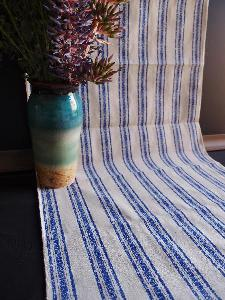 "Linen Table Runner Blue Stripes Selvage Edge - 19"" x 108"""