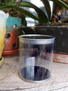 "Clear Cylinder with Tin Lid - 3"" x 3.4"""