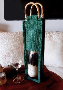 "Hunter Green Jute Wine Bag Cane Handles - 4"" x 4"" x 14"""