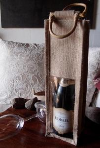 "Natural Jute Wine Bag Cane Handles - 4"" x 4"" x 14"""
