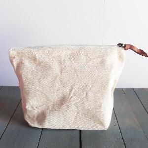 "Natural Washed Canvas Zipper Pouch 11"" - 11""W x 8""x 3"" D"