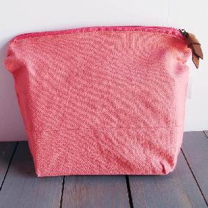 "Coral Red Washed Canvas Zipper Pouch 11"" - 11""W x 8""x 3"" D"