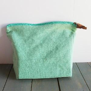 "Mint Green Washed Canvas Zipper Pouch 11"" - 11""W x 8""x 3"" D"