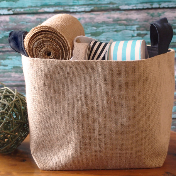 "Burlap Storage Basket with Black Cotton Lining  - 9"" x 9"" x 7"""