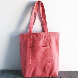 "Coral Red Washed Canvas Tote Bag - 14"" x 14"" x 5"""