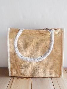 "Burlap Tote with White Cotton Trim - 10.25"" x 9"" x 3"""