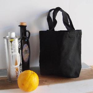 "Small Black Cotton Tote 9.5x 8 - 9.5""x 8"" x 3"""
