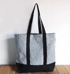 "Gray Recycled Canvas Tote with Black Band  - 18""W x 15""H x 5 3/4"" Gusset"