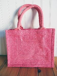 "Pink Jute Tote with Picture Pocket - 10""W x 8""H x 5""D"