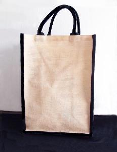 "Natural Jute Blend Tall Tote with Black Trim  - 13"" x 18"" x 8"""