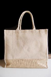 Jute Blend Tote with White Trim 15 x13