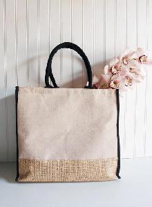 Jute Blend Tote with Black Trim 15 x13 - 6pcs/pack