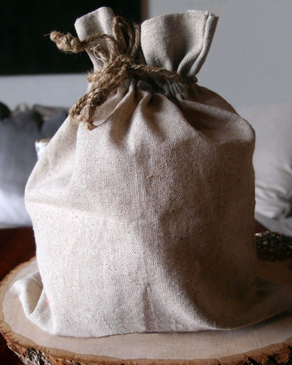 "Linen Bag with Jute Cord - 10"" x 12"""